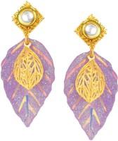 Sukkhi Exotic Leaf Shape Gold Plated Kundan Alloy Drop Earring