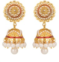 Rajwada Arts Floral Design With Pink Enamel And White Stone Brass Jhumki Earring