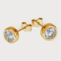 Aiza 18K Yellow Gold Plated 18 K Diamond Gold Stud Earring - ERGEYUXWHCHJHNZH