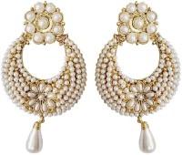 Tera Multisales White Pearl Gold Look Metal Dangle Earring