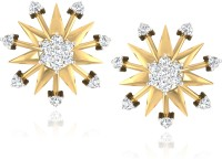 Forevercarat Snowflakes 14K Yellow Gold Plated Diamond Silver Stud Earring