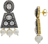 Pearls Cart Ad Stone Studded Peacock Theme Style  K Alloy Drop Earring - ERGEDKRQXZ2UWPDZ