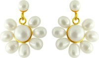 Jpearls Flower Yellow Gold Plated Pearl Alloy Drop Earring