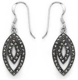 Johareez Fashion Floral Cubic Zirconia Sterling Silver Dangle Earring