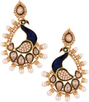 The Jewelbox Dancing Peacock Yellow Gold Plated Pearl Copper Drop Earring