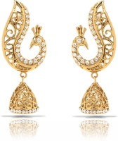 Oviya White Peacock 24K Yellow Gold Crystal Brass, Alloy Dangle Earring