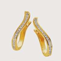 Aiza 18K Yellow Gold Plated 18 K Diamond Gold Clip-on Earring