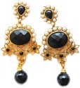 Maayra Maayra White Moti & Golden Bollywood Hanging Earrings Copper Drop Earring