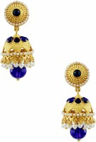 Orniza Rajwadi Earrings In Royal Blue Color With Golden Polish Brass Drop Earring