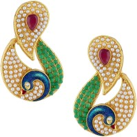 Gold & More Paisley Design Yellow Gold Plated Pearl Alloy Chandelier Earring