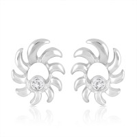 Mahi Rhodium Plated Crystal Brass, Alloy Stud Earring