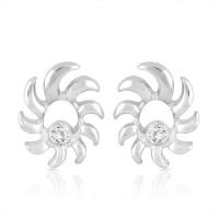 Mahi Rhodium Plated Crystal Brass, Alloy Stud Earring