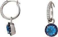 Gold24.in New 14 K Diamond, Topaz, Sapphire White Gold Drop Earring