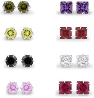925 Silver 4mm 8 Pair Of Colorful Assorted CZ Bundle Pack Sterling Silver Plated Cubic Zirconia Silver Earring Set