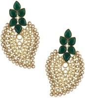 The Jewelbox Green Paisley Filigree Yellow Gold Copper Dangle Earring