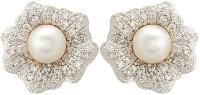 Apollodiamonds Designer Earing 24K Yellow Gold Plated Pearl, Cubic Zirconia Alloy Stud Earring