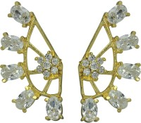 Archi Collection Style Diva Yellow Gold Cubic Zirconia Alloy Cuff Earring