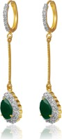 American Diamond Beautiful 18K Yellow Gold, Rhodium  K Cubic Zirconia, Emerald Copper, Brass Drop Earring