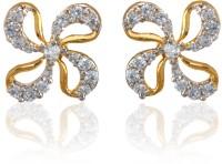 Dhruvi Creation By Zaveri Pearls 22K Yellow Gold, Rhodium K Cubic Zirconia Brass Stud Earring