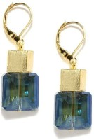 Blissdrizzle Blue And Gold Craft Metal Dangle Earring