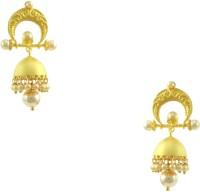 Orniza Rajwadi Earrings In Pearl Color And Matt Gold Polish Brass Jhumki Earring