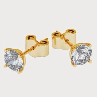 Aiza 18K Yellow Gold Plated 18 K Diamond Gold Stud Earring