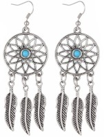 Young & Forever Vintage Elegant Anique Silver Dreamcatcher Leaf Tribal Turoquoise Stone Feathers Alloy Dangle Earring