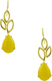 Orniza Victorian Earrings in Yellow Color with Antique Polish Brass Drop Earring