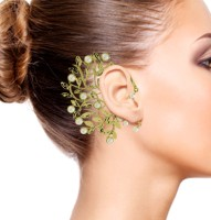 The Jewelbox Wild Flower Filigree Brass Cuff Earring