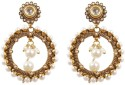 Rajwada Arts Oxidized Metal And Pearl Brass Hoop Earring