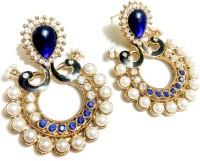 Glittering World Designer Peacock Style Blue Stone Alloy, Enamel Chandbali Earring