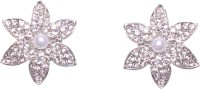 Pink Rose Flower Charm Zircon Metal Stud Earring