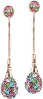 Swarovski Elements Rhinestone Colorful Long Shamballa Gift For Women Swarovski Crystal Metal Drop Earring