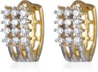 Alysa ES011002 Rhodium, 18K Yellow Gold Cubic Zirconia Alloy Hoop Earring