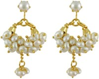 Jpearls White Banjara Balis Yellow Gold Plated Pearl Alloy Drop Earring