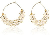 Ratnakar White Pearl Bunch Bali Yellow Gold Plated Copper Hoop Earring