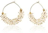 Ratnakar White Pearl Bunch Bali Yellow Gold Plated Copper Hoop Earring
