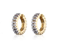 Alysa Small Wonder 18K Yellow Gold, Rhodium Plated Cubic Zirconia Brass, Copper, Silver Hoop Earring