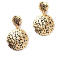 Oomph Gold & Black Crystal Fashion Jewellery For Women, Girls & Ladies Metal Drop Earring