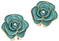 Jewel Touch Faddish Dark Green Rose Shape Alloy Stud Earring