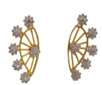 Bandish Gold Toned Floral Stone Studded Cubic Zirconia Alloy Cuff Earring