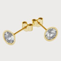 Aiza 18K Yellow Gold Plated 18 K Diamond Gold Stud Earring - ERGEYUXWYMEXHUVK