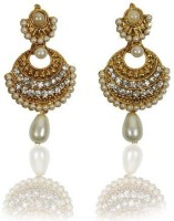 Rashi Jewellery Gorgeous White Pearl Rhodium Plated Alloy Drop Earring