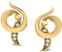 CaratLane Curled Shell Ear 18K Yellow Gold Plated 18 K Diamond Gold Stud Earring