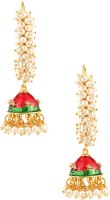 Voylla Artifictial Beaded Enamel Pearl Alloy Jhumki Earring