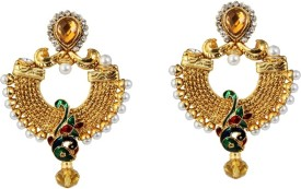 Kriaa Multicolor Peacock Design Meenakari Austrian Stone Earring - 1303770 Alloy Drop Earring