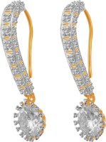 American Diamond Lovely 18K Yellow Gold, Rhodium Plated Cubic Zirconia, Diamond Copper, Brass Drop Earring