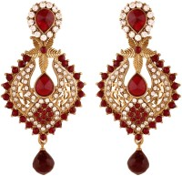 I Jewels Traditional Gold Plated Stone Alloy Chandelier Earring
