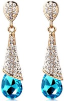 Aaishwarya Dazzling Blue Crystal Alloy Dangle Earring
