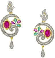 Pearls Cart Ad Stone Studded Peacock Theme Style  K Alloy Drop Earring - ERGEDKRQQFQSKVWR